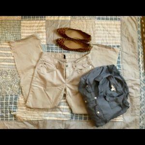 Ann Taylor Denim Modern Boot Grey Pant